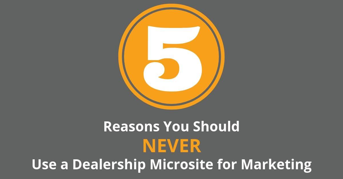 Never use dealership microsite for marketing blog post
