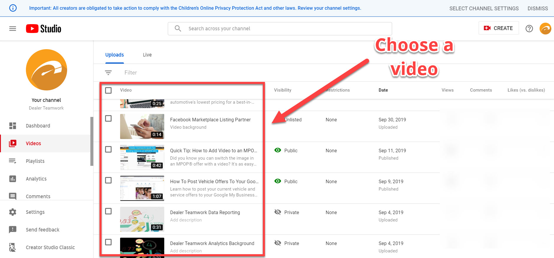 Choose video to edit - YouTube Studio - Dealer Teamwork