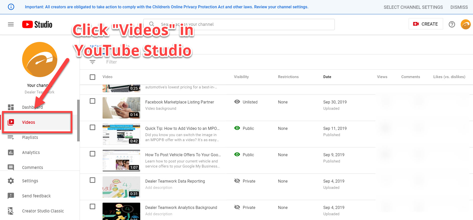 Videos - YouTube Studio - Dealer Teamwork