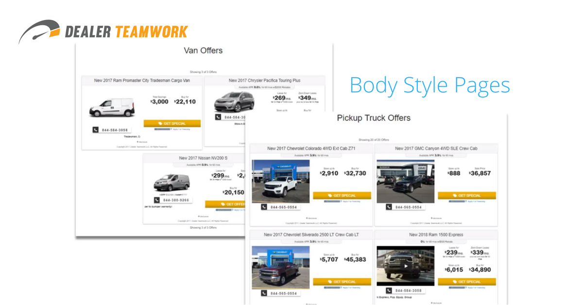 Dealer Teamwork Body Style Pages