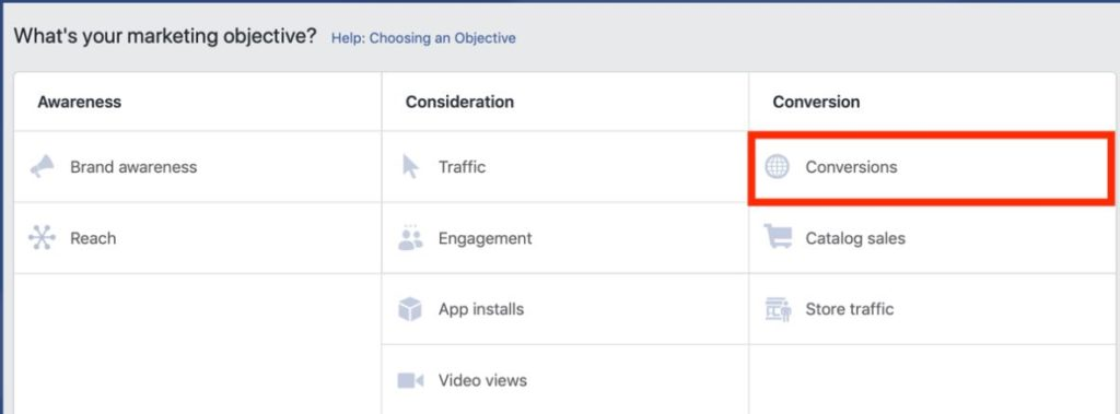 Dealer Teamwork- When choosing a marketing objective in Facebook Ad Manager, choose conversions.