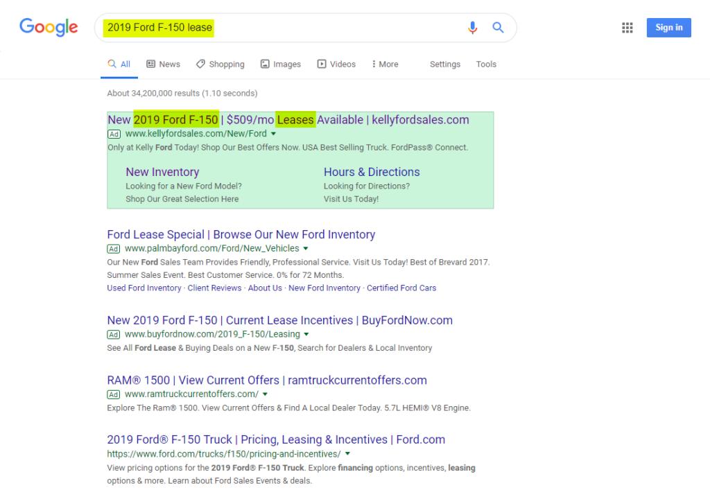 7 Google Best Practices- ford f150 serp - Dealer Teamwork