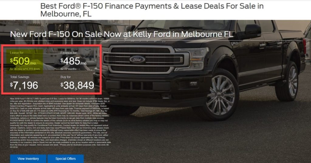 Kelly Ford F150 Landing Page Image - Dealer Teamwork