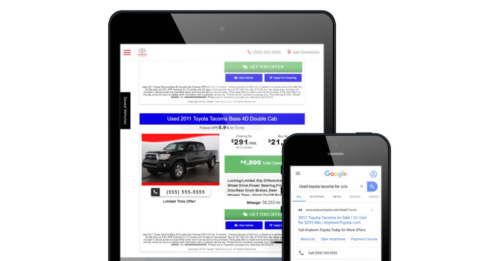 Used vehicle ad and landing page from Dealer Teamwork