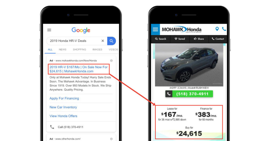 Mohawk Honda Paid Search Ad with Matching Offer to Landing Page