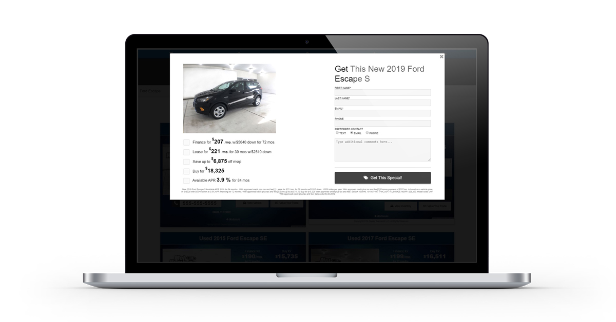 Dealer Teamwork Dynamic Landing Page CTA Form with Vehicle Offers