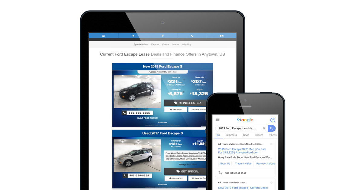 Dealer Teamwork Dynamic Landing Page Offer Matches the Google Ad