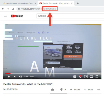 Accessing YouTube video ID at end of URL