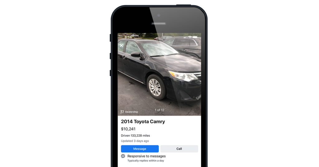 Up close view of a Facebook Marketplace Listing on a Phone