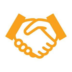 Handshake icon - orange