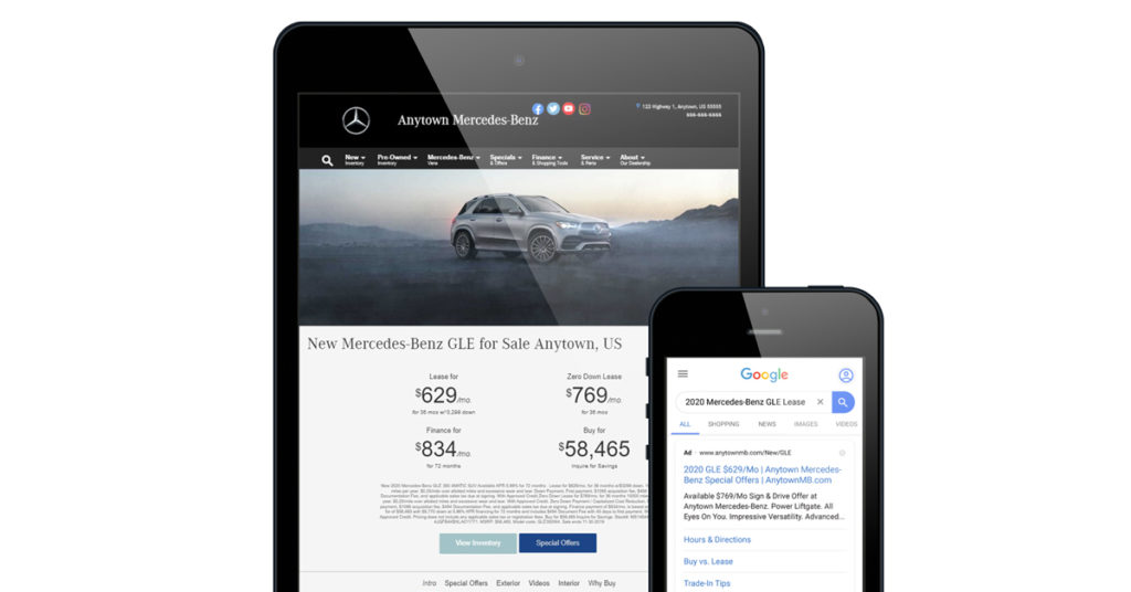 Mercedes-Benz Landing Page and Ad with Matching Vehicle Offers