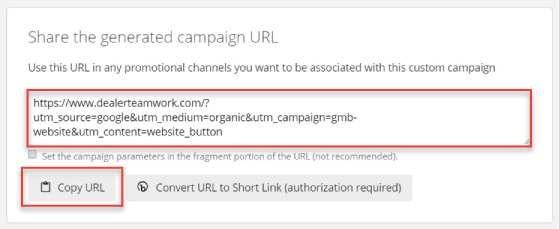 Screenshot of final generated URL using Google's Campaign Builder Tool