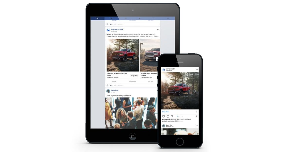 A tablet and mobile phone with a Facebook and Instagram vehicle ad displaying
