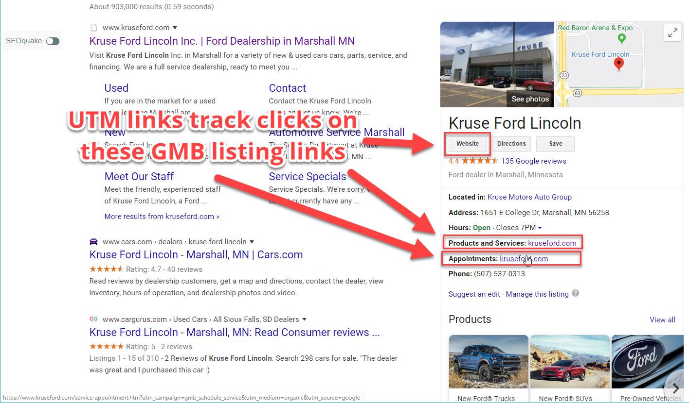 GMB Listing UTM Tracking Tags - Dealer Teamwork