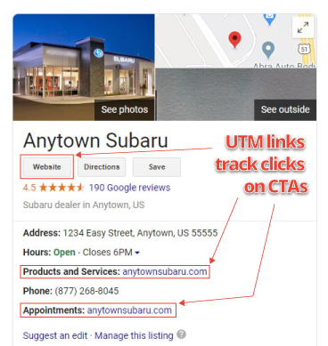 Locating UTM links on your listing