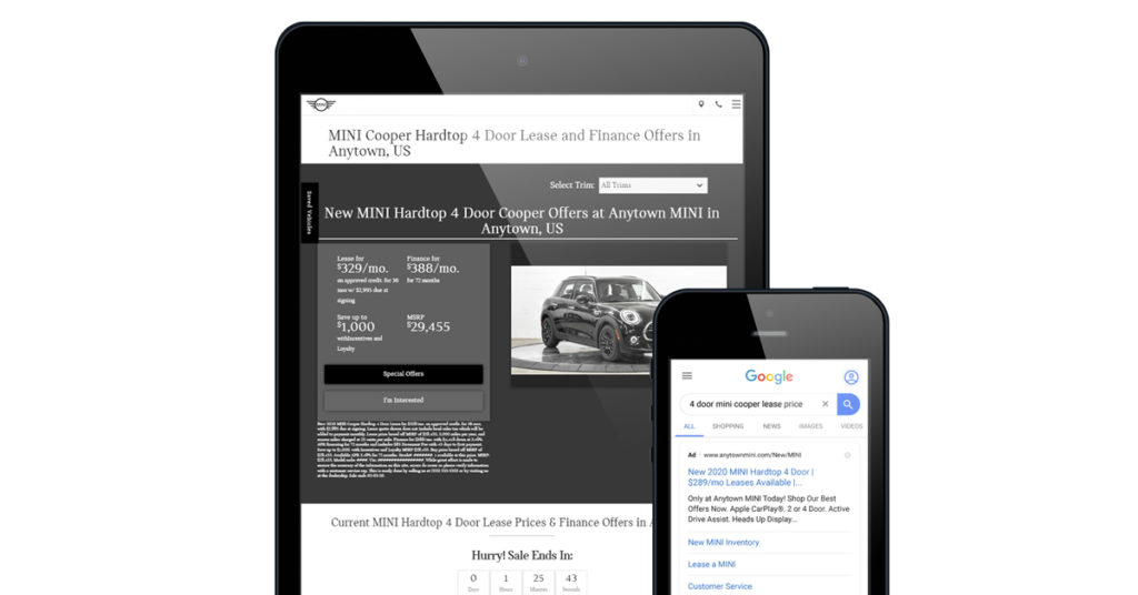 Dealer Teamwork Landing Page & Ad for MINI brand