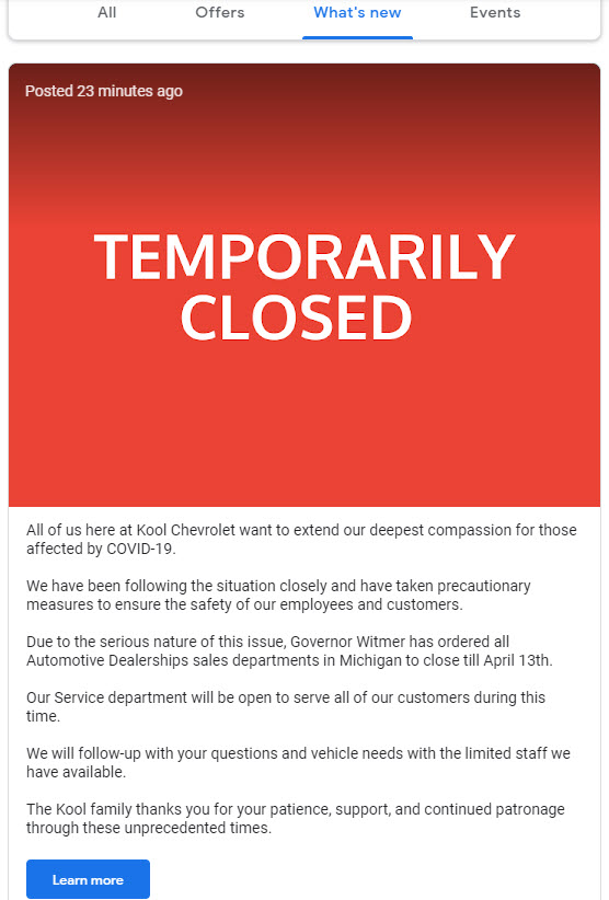 Kool Chevrolet Temporarily Closed GMB Post Example