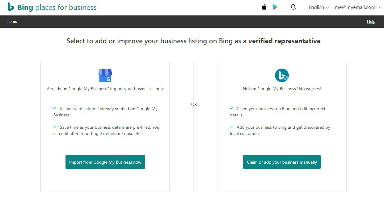 Bing Places Options for Claiming Your Business Listing
