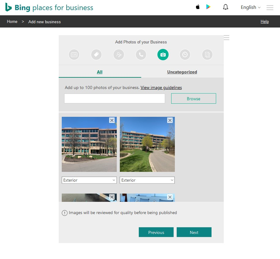 Step 5 of Bing Places listing set up - adding photos of your business