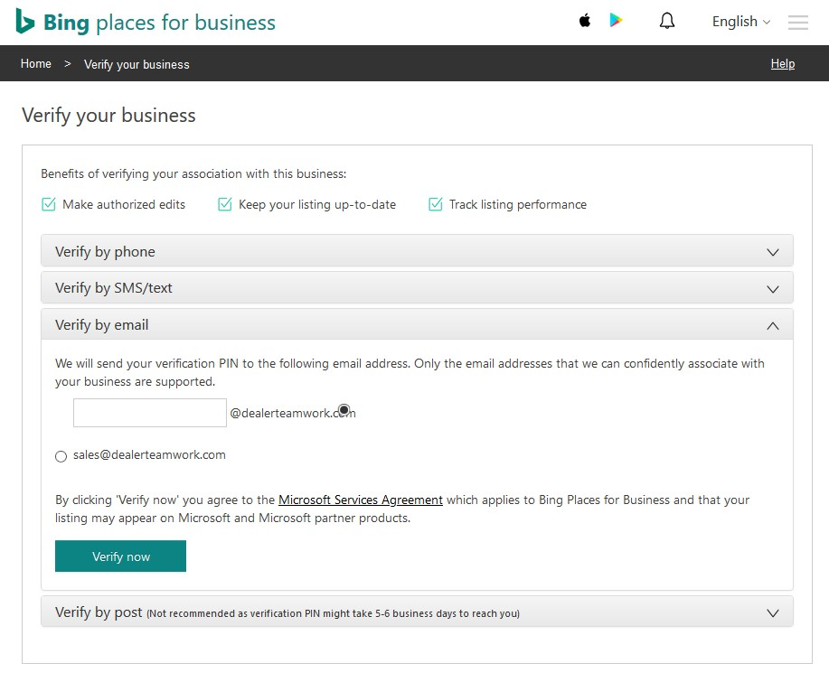 Bing Places Options for Verifying Your Business Listing