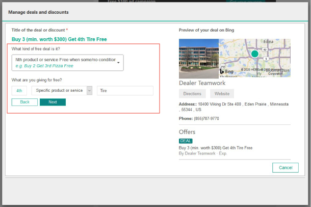 Screenshot of Bing Places offering building step 4