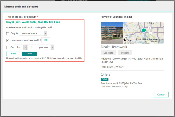 Screenshot of Bing Places offering building step 5
