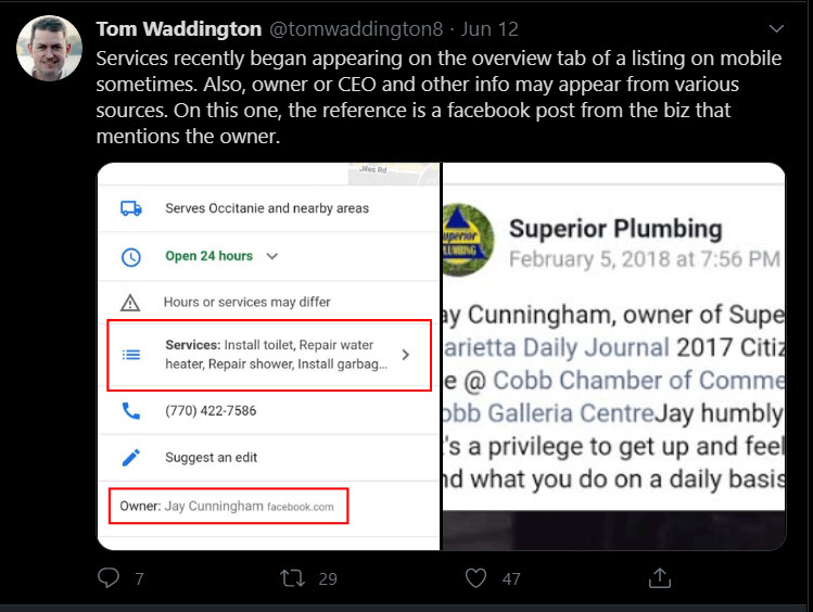 Services and owner names appearing on Google My Business from Facebook