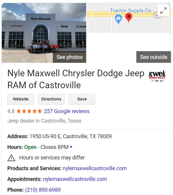 Google My Business profile for Nyle Maxwell of Castroville
