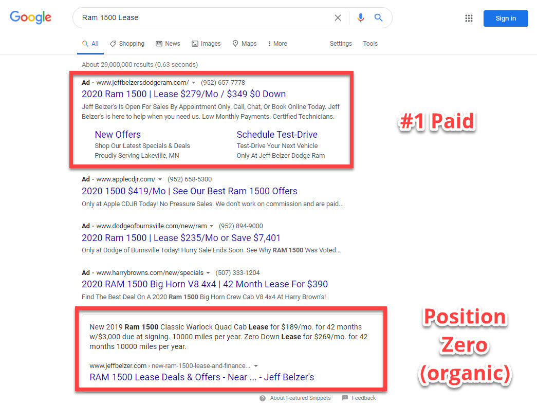 "Image showing search results on the search engine results page for the search query, ""Ram 1500 lease"""