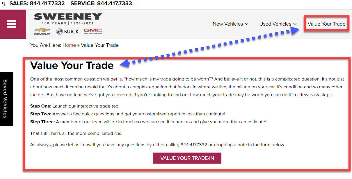 Dealer website example of a good, easy-to-use trade-in tool