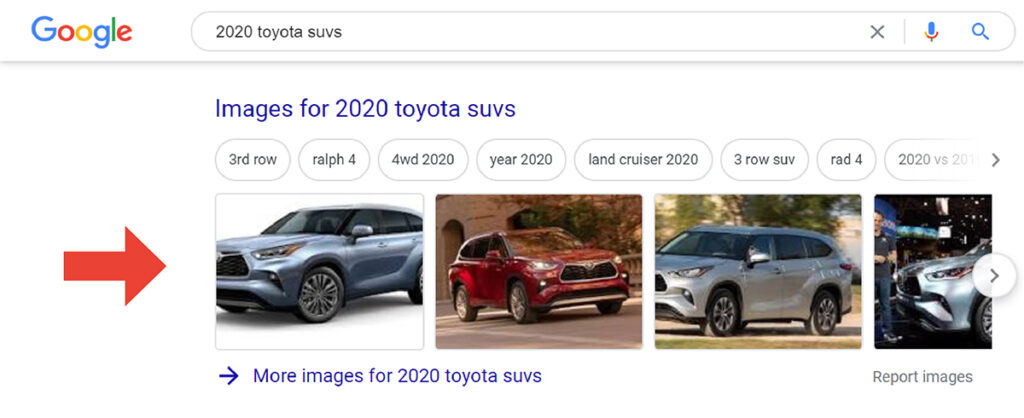 Image pack snippet of 2020 toyota suvs in google serp results