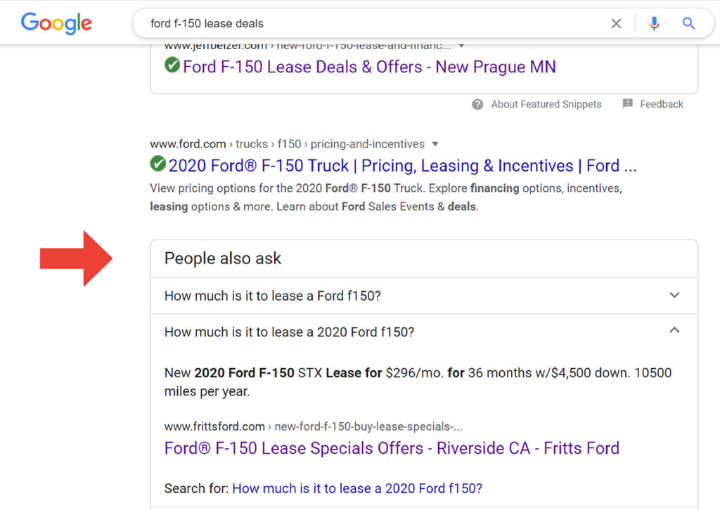 People also ask question snippet in google serp results
