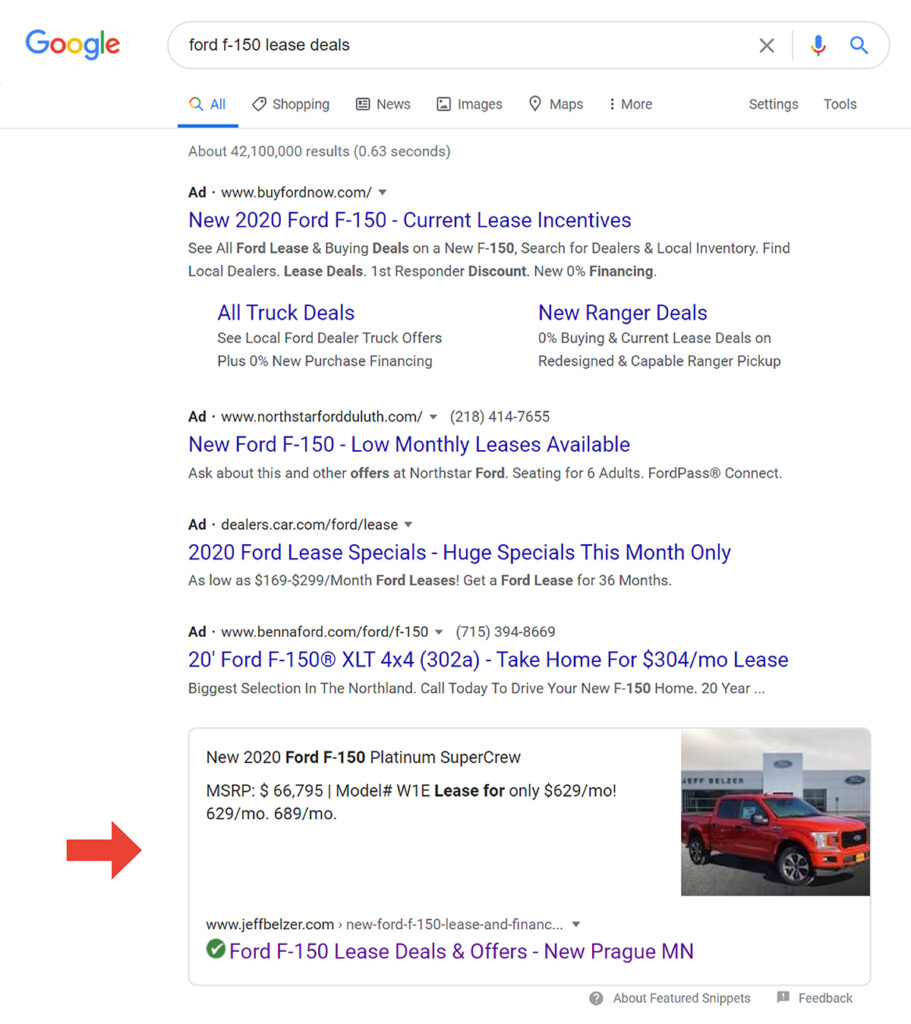 Featured snippet of a ford f-150 lease offer in a google serp