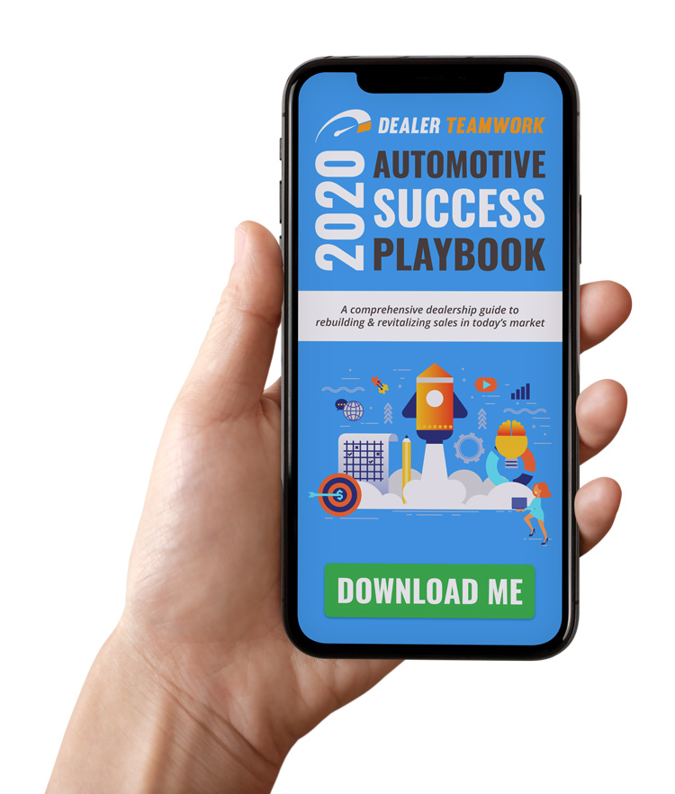 Person looking at Dealer Teamwork's 2020 Automotive Success Playbook on a phone