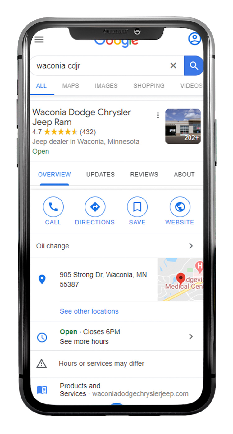 Google My Business Listing in mobile search
