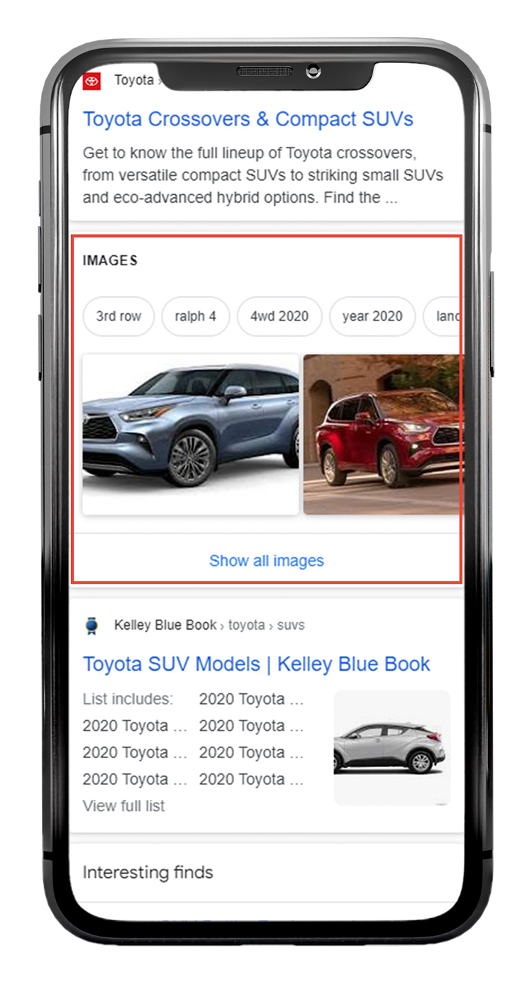 Image Pack SERP Feature on Mobile