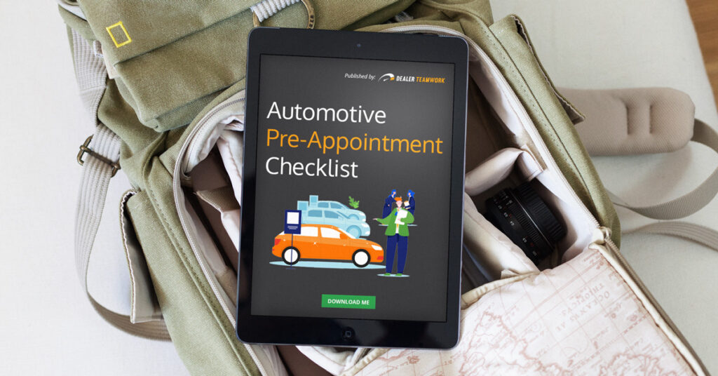 automotive pre-appointment checklist download on a tablet