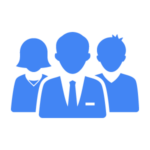 Blue icon of a group of people