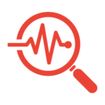 Red magnifying glass icon