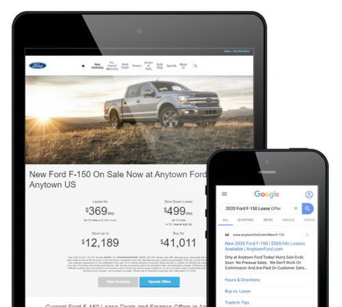 Ford landing page on a tablet and google ad on a phone