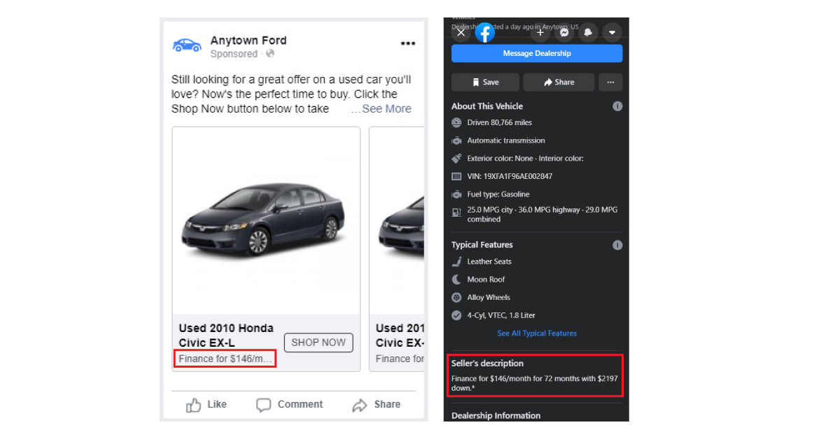 price matching the facebook ad and the facebook vdp