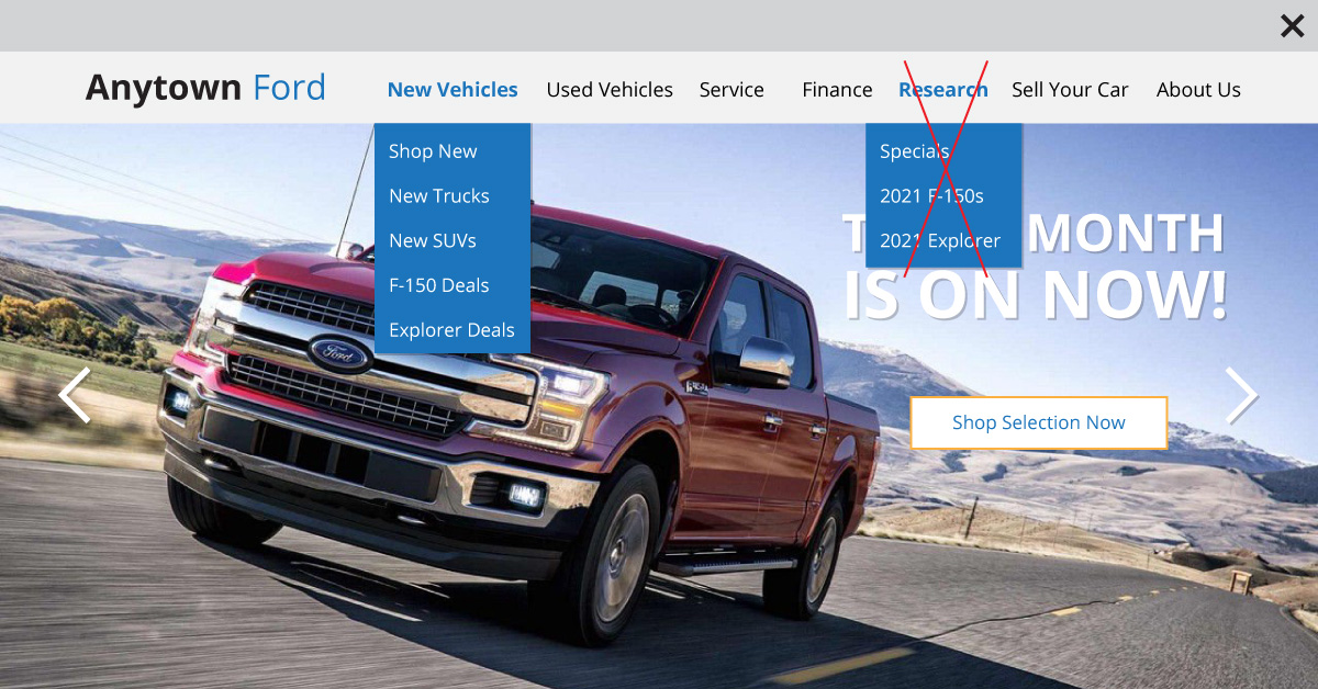 dealership website navigation with an X through duplicate navigation items