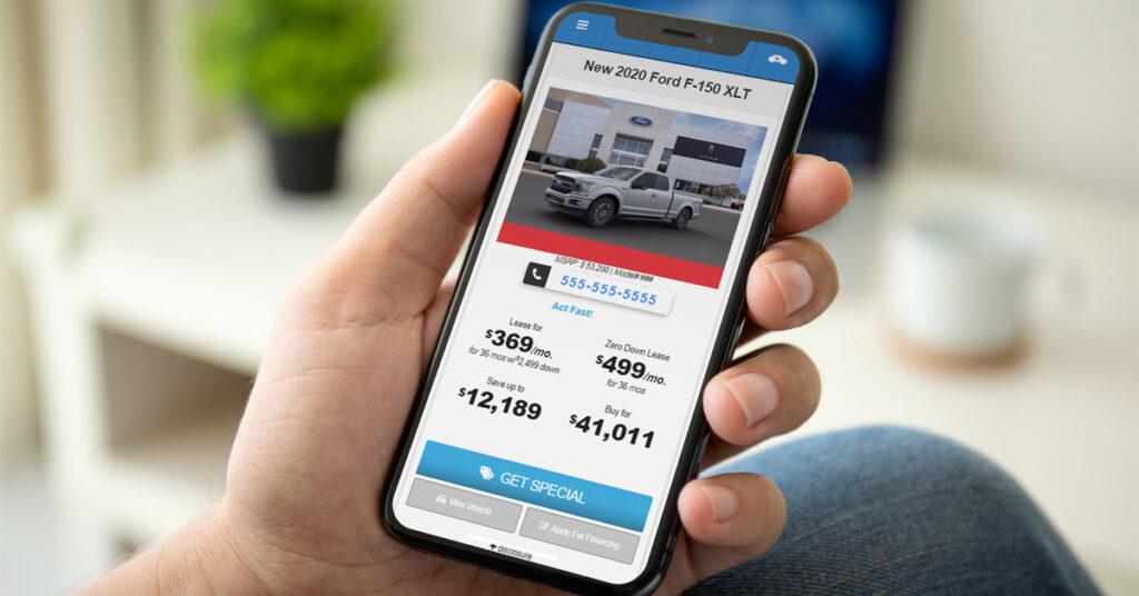 Ford dealer vehicle offer on a mobile website
