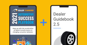 Dealer Teamwork's playbook cover on a phone next to a phone with Dealer Guidebook 2.5 on it