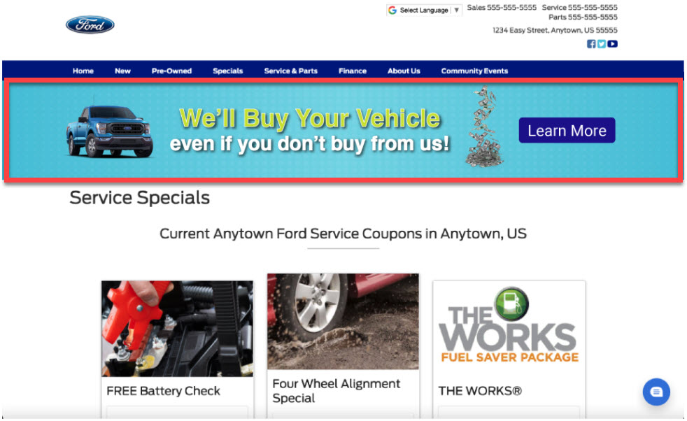 Example showing a buyback banner on a dealership's Ford service coupons page