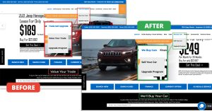 comparison showing to change trade in language to sell your car language on your website
