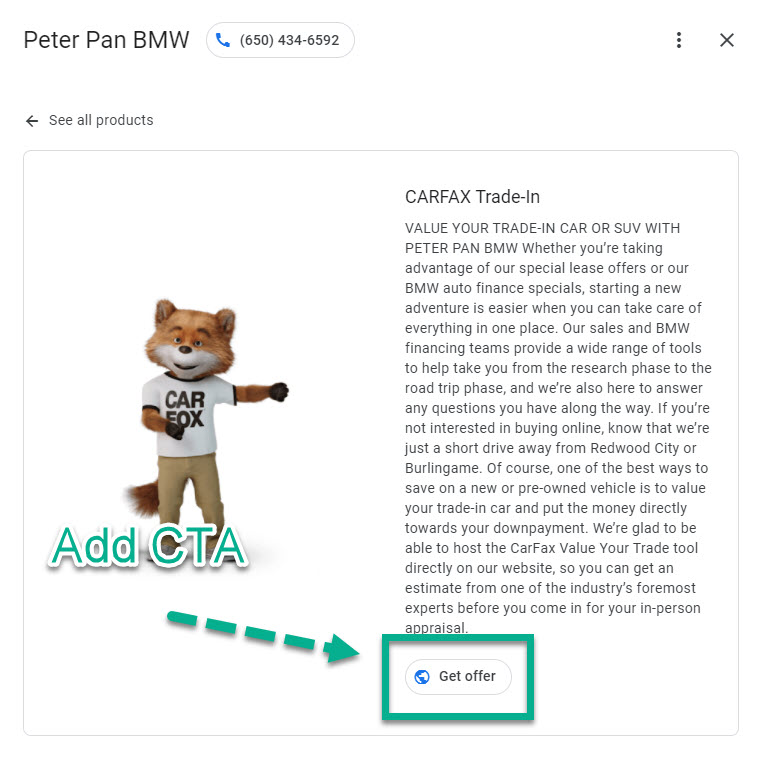 Carfax GMB Trade In product overview