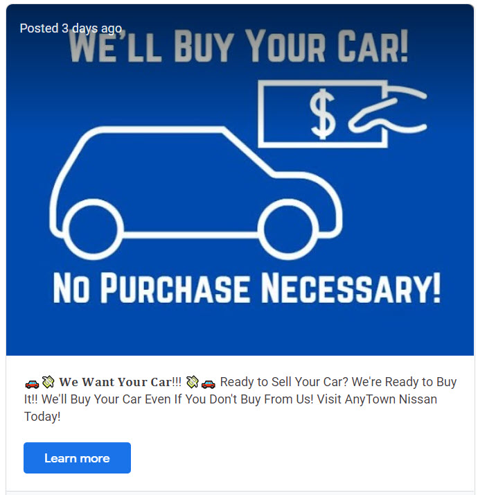 Example of a Sell Your Car to Us GMB Post