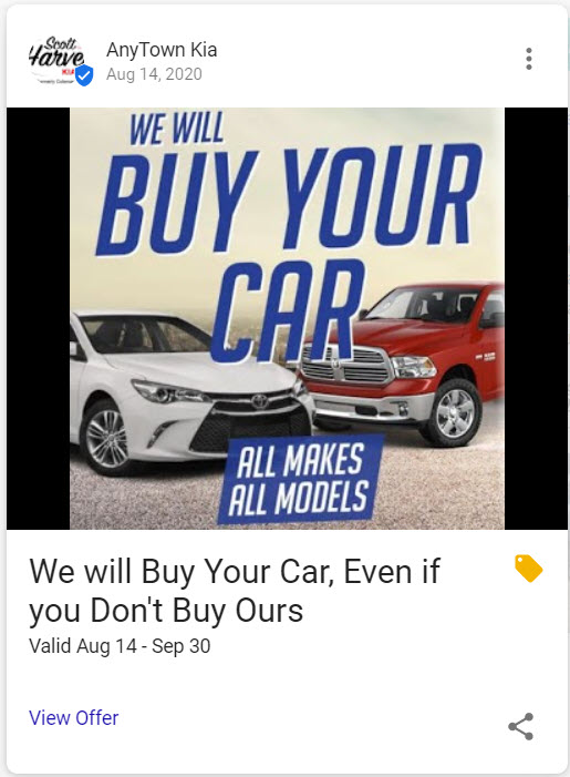 Example of a Buy Your Car GMB Post