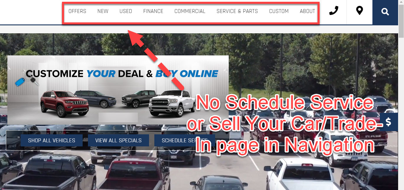 Car dealership's website without trade-in and schedule service links in nav.